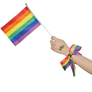 Amazon Com Seipe Gay Pride Decorations 2 Hand Held Rainbow Flags 2