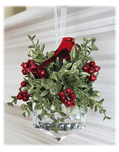 Kissing Krystal Acrylic Prism with Red Cardinal Hanging Ornament by Ganz,7 in W x 6 in H -