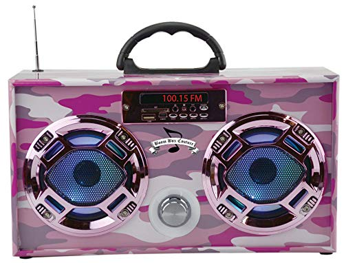 Mini Boombox with LED Speakers - Pink Camo