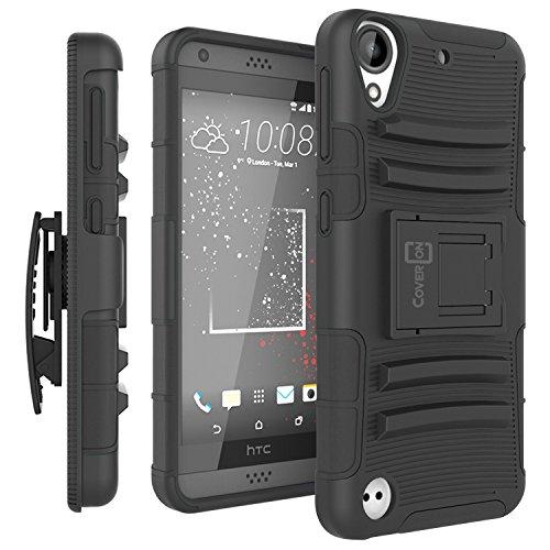 HTC Desire 550 Holster Case, HTC Desire 555 Holster Case, CoverON [Explorer Series] Holster Hybrid Armor Belt Clip Hard Phone Cover For HTC Desire 550 / 555 Holster Case - Black / Black
