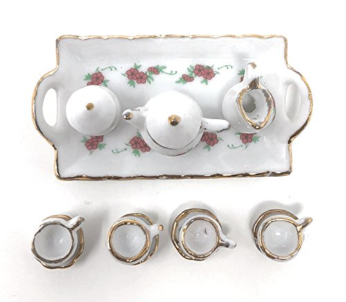 (Anny's 1:12 Scale Porcelain Mini Dollhouse Size Floral Tea Set with Teapot, Sugar, Creamer, Cups, and Plate (White Small Rose Floral / Square Plate / Gold Tone (14 Pieces)))