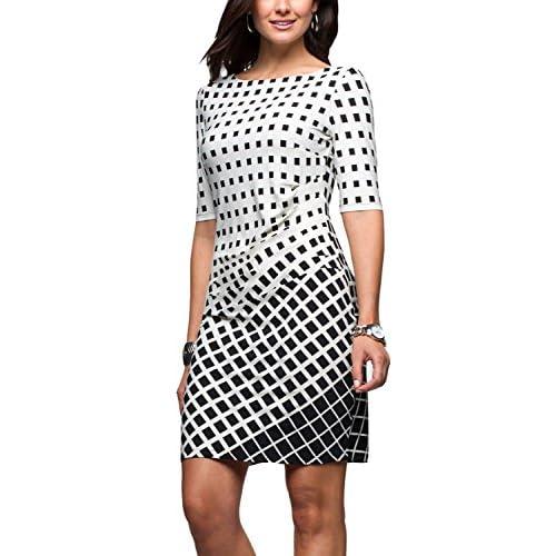 Discount Eliacher Women Pleated Front Gradient Grid Print Summer Dresses Half Sleeve Bodycon Midi Dress Knee Length for sale