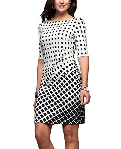 Grid Summer (Eliacher Women Pleated Front Gradient Grid Print Summer Dresses Half Sleeve Bodycon Midi Dress Knee Length (M, White))
