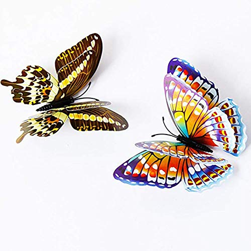 3D Butterfly Wall Stickers Decor 24 Pcs Luminous Colorful Butterfly Wall Decals for Kids Girls Baby Women Bedroom Bathroom Living Room Wall Art Decor Removable Mural Butterflies Wall Art Stickers