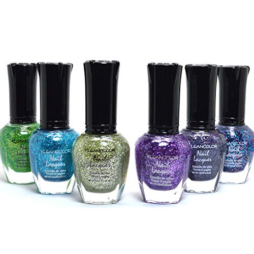 (6 KLEANCOLOR BEAUTIFUL GLITTER SET NAIL POLISH COLORFUL LACQUER MANICURE + FREE EARRING)