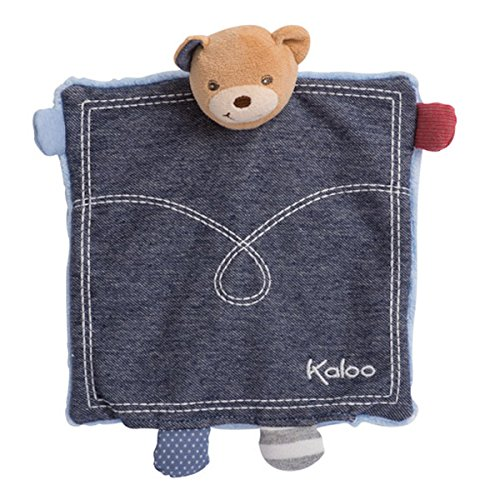 KALOO Blue Denim Doudou Ourson Trésor Marionnette