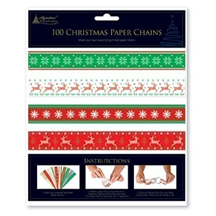 Christmas Paper Chains Uk.100 X Traditional Christmas Make Your Own Paper Chains Decorations Xmas