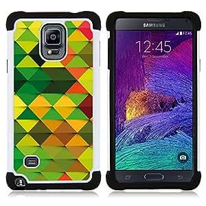BullDog Case - FOR/Samsung Galaxy Note 4 SM-N910 N910 / - / BROWN ORANGE WALLPAPER GREEN RANDOM PATTERN /- H??brido Heavy Duty caja del tel??fono protector din??mico - silicona suave