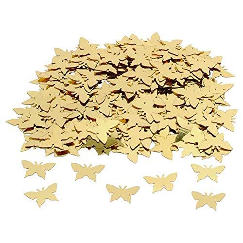 RoJuciy Butterfly Confetti Wedding Party Decor Throwing Bridal Shower, Birthdays, Graduations Props Pack Wedding Supplies (Gold) -