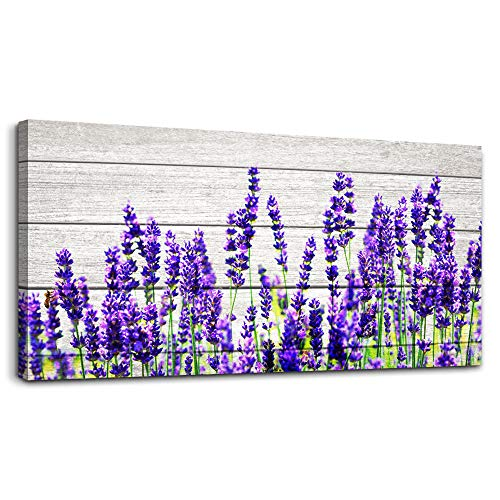 (Wood grain blue lavender Wall Art for Living Room Canvas Prints Artwork wall decor Bedroom Works inspiration Mural Art Framed Hotel Home Decor posters flowers watercolor wall Painting 20 x 40 inch )