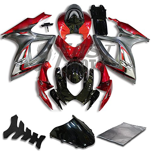 9FastMoto Fairings for suzuki 2006 2007 GSX-R600 GSX-R750 K6 06 07 GSXR 600 750 K6 Motorcycle Fairing Kit ABS Injection Set Sportbike Cowls Panels (Red & Silver) S0025