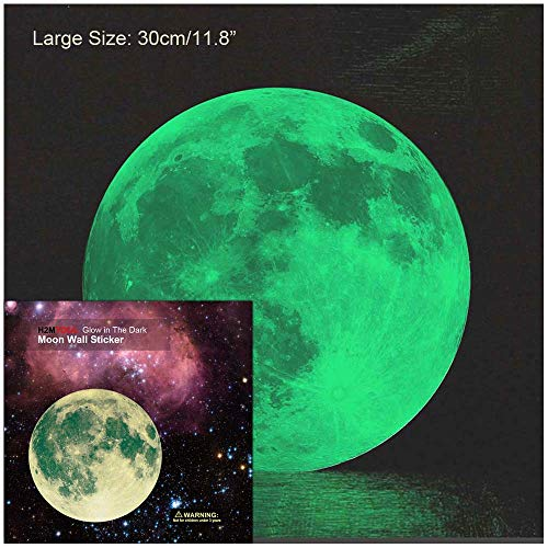 30 Kids Room Decor - Moon Wall Decal, H2MTOOL 30cm Glow Moon Stickers for Kids Rooms Nursery Decor (Green, 30 cm / 11.8
