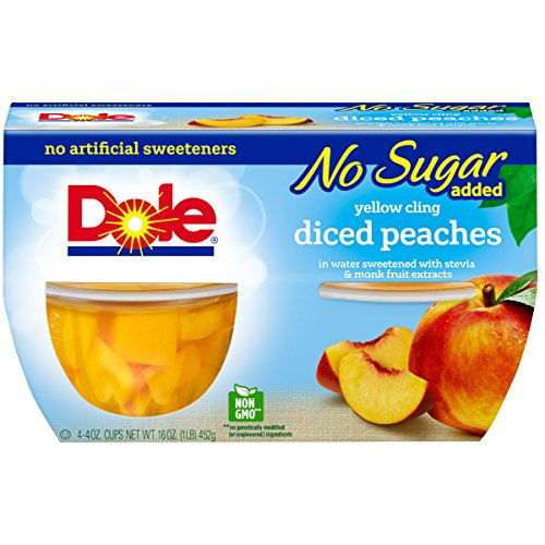 Dole Fruit Bowls, Diced Peaches in Water, 4 Cups (Pack of (Dole Peaches)