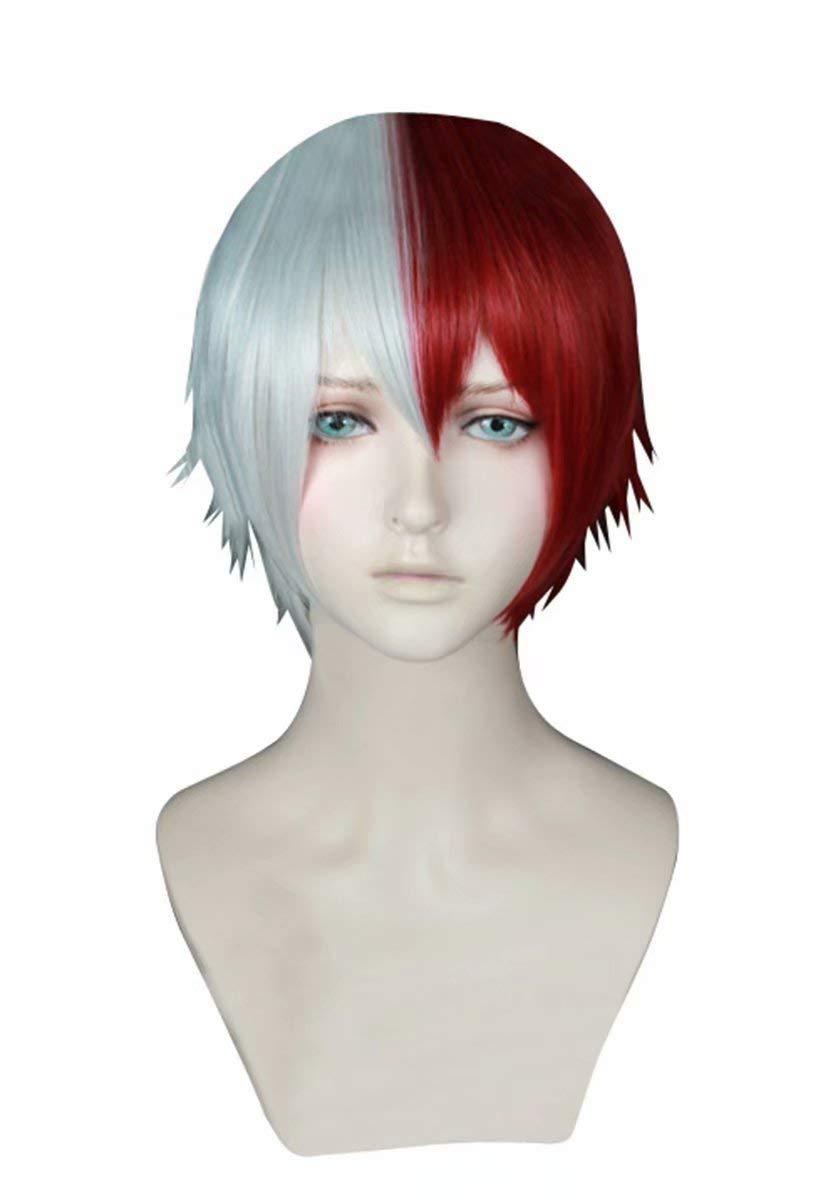 NiceLisa Unisexe Court Blanc Rouge Mixte Cheveux /École Gar/çon Adolescent Academia Anime H/éros Style Cosplay Costume Party Perruques