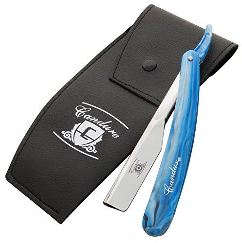 CANDURE - Professionelles Rasiermesser mit gerader Klinge - Traditionelles Rasiermesser + 20 Klingen