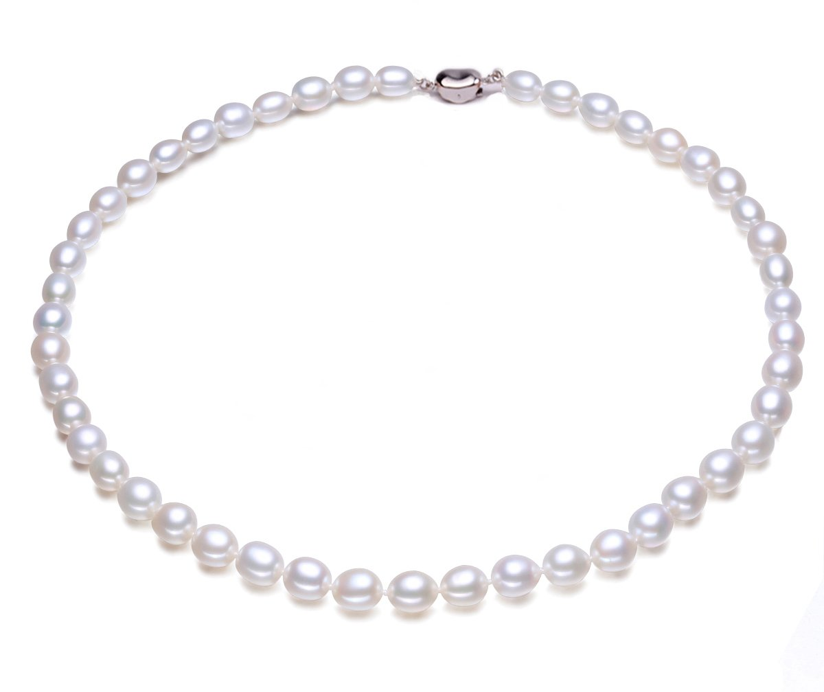 JYX Classic Oval White Freshwater Pearl Necklace 18''