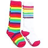 juDanzy Knee High Tube Socks for Boys, Girls, Baby, Toddler and Child (2-4 Years, Bright Rainbow & Bright Rainbow Stripes)