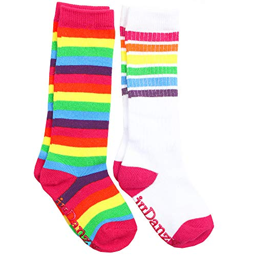 juDanzy Knee High Tube Socks for Boys, Girls, Baby, Toddler and Child (4-6 Years, Bright Rainbow & Bright Rainbow Stripes) (Knee High Tube Socks For Girls)