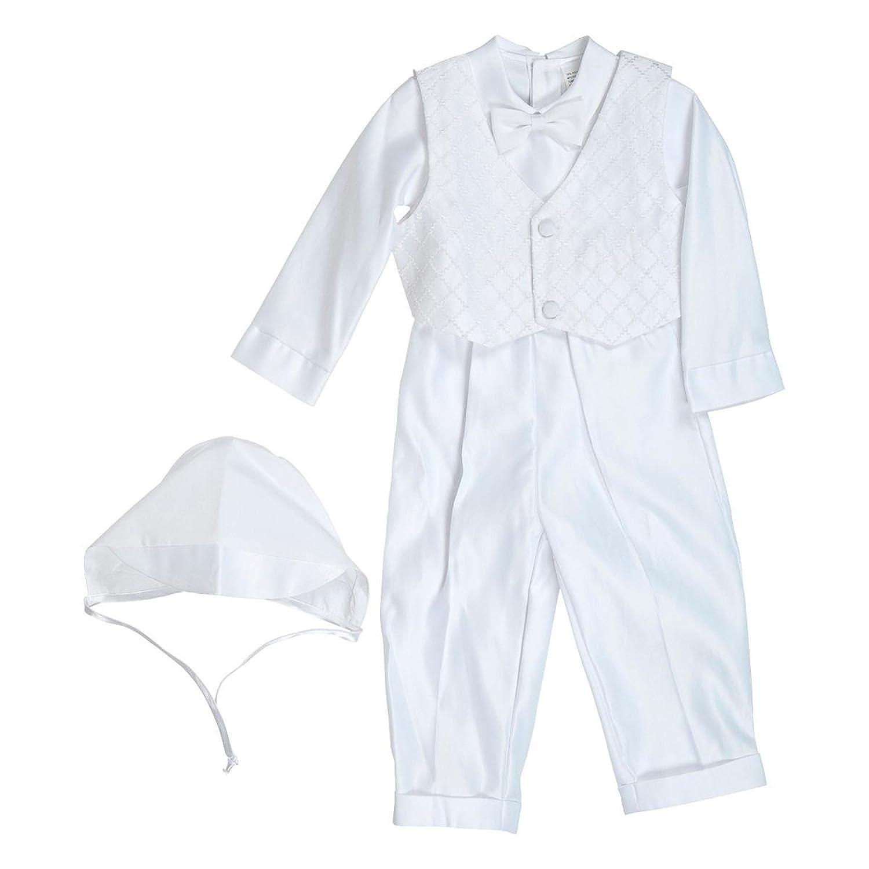 Hübscher Taufanzug Leon für Jungen weiß Set Baby 5teilig Weste lange Hose Mütze für Hochzeit Taufe edler Satin Babyanzug