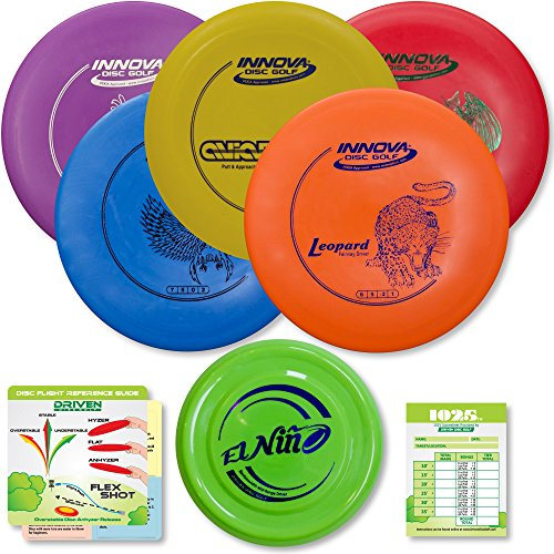 Innova Disc Golf Starter Set | Beginner Discs - DX Putter, Mid-Range, Driver - 1025 Putting Game - Flight Reference Card - Driven Mini Marker | Disc Colors Vary