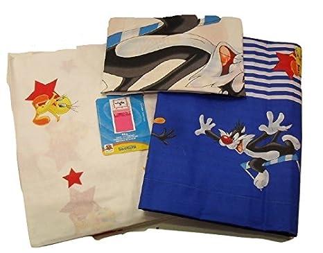 Bassetti Looney Tunes Lenzuola Copriletto.Bassetti Lenzuola Looney Tunes Tweety Titty Silvestro Usa Singolo