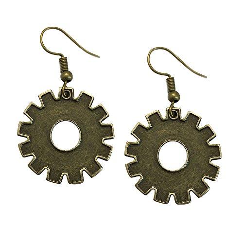 Adeley Womens Steampunk Gear Cog Brass Charm Dangle Earrings from Adeley