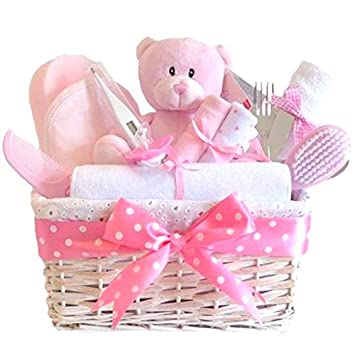 Angel Luxury Baby Girl Gift Basket Hamper Pink / Baby Shower Gifts For  Girls / FAST