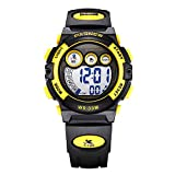 Multifunctional LED Waterproof Outside Sports Electronic Digital Watch for Children Girls Boy (Black with Yellow)
