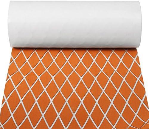 Queenwind 60x190cm オレンジと白の EVA フォームマリンチークシートフローリング合成ボートデッキヨットパッド