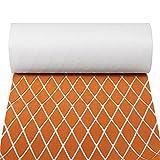 CoCocina 60x190cm Orange and White EVA Foam Marine Teak Sheet Flooring Synthetic Boat Decking Yacht Pad