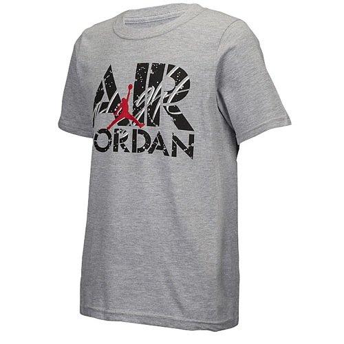 Jordan Boys Youth Air Crew Neck Tee (Medium, Grey AJ Flight) (Michael Jordan Washington Bullets Jersey 23 Throwback)