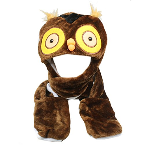 Silver Fever Plush Soft Animal Beanie Hat with Built-in Earmuffs, Scarf, Gloves (Owl)