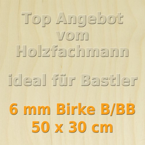 PiHaMi/® 6mm Birke Sperrholzplatte Qualit/ät B//BB 50 x 30cm GP 61,93 /€//m/²