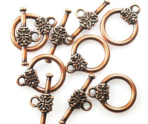 25 COPPER PLATED FLOWER TOGGLE CLASPS (Brass Toggle Bar)