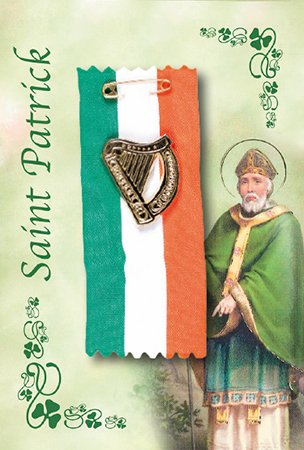 St Patrick Day PIN Ribbon Harp Irish Blessing St Patrick brooch