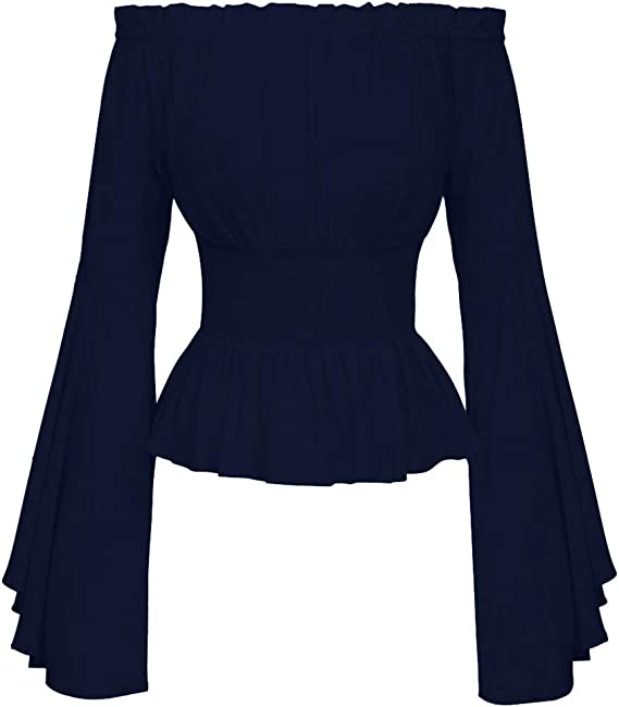 ღLILICATღ Blusa gótica para Mujer Blusa Medieval Blusas de Manga Larga con Volante De Color Sólido con Slash-Neck Blusa De Color Liso: Amazon.es: Ropa y accesorios