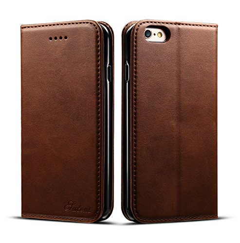 iPhone 6 Case, iPhone 6S Case, Ftongcase Premium Comfortable Leather Notebook Wallet Cover with Wrist Strap Stand Function Card Holder and ID Slot Flip Folio Protective Skin,Gift Packing (brown)