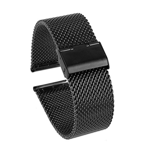 Beauty7 Heavy Black 18-24mm Stainless Steel Mesh Watch Band Bracelet Strap Replacement Adjustable Buckle
