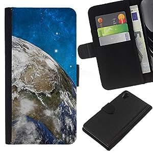 KLONGSHOP // Tirón de la caja Cartera de cuero con ranuras para tarjetas - Espacio Estrellas Cielo Azul Tierra Universo Planet - Sony Xperia Z2 D6502 //