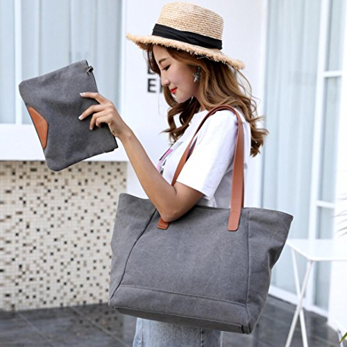 Mujer De Viaje Bolsos Grandes Gran Shoppers de de de Logobeing Para Compras y Bolso Lienzo Ocio Mano Capacidad de C Hombro Bolso Mujer qvF845