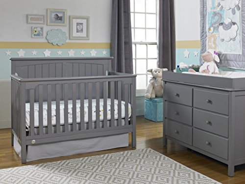 Fisher-Price Colton 4-in-1 Convertible Crib, Stormy Grey