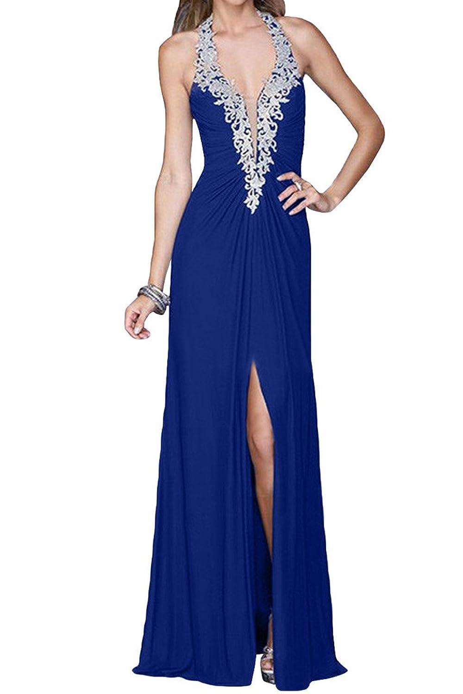 Victory Bridal Sexy Royal Blau Stickreien V-ausschnitt Abendkleider ...