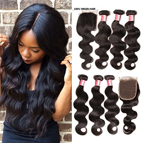 Jolia Hair Virgin Brazilian Body Wave with Lace Closure Free Part 100% Brazilian Hair Weave Human Bundles Full Head, Natural Black Color(18 20 - Usps Delivery Cost Two Day