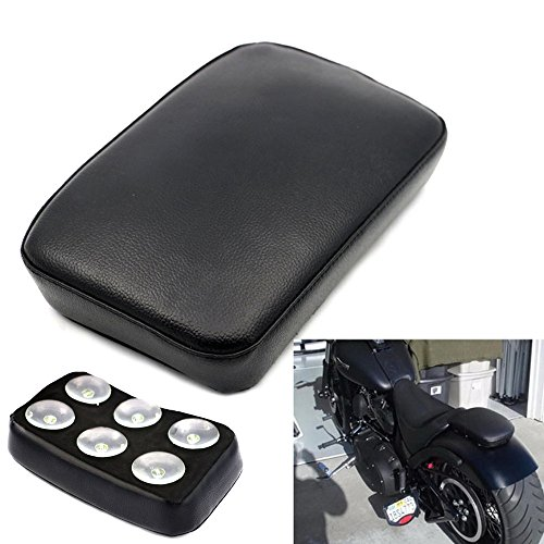 (Motorbike Pillion Pad Suction Cup Solo Rear Seat Passenger Saddle for Harley Dyna Sportster Softail Slim FLS Touring XL 883 1200)