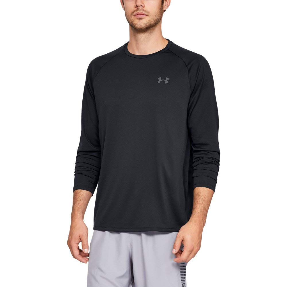 Under Armour Men's Tech Long sleeve Shirts, Black (001)/Graphite, Small