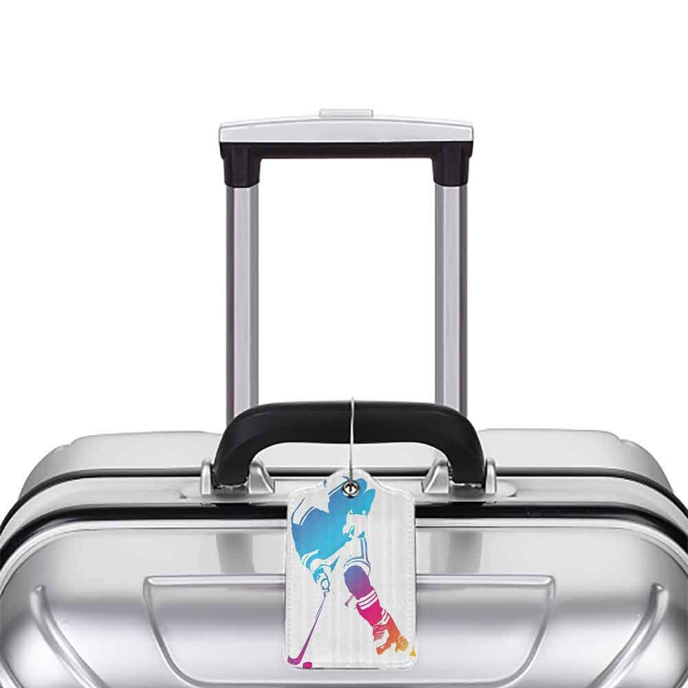 Small luggage tag Sports Decor Collection Colorful Man Figure Silhouette of a Hockey Player Athlete Racing Team Design Quickly find the suitcase Blue Magenta Orange W2.7 x L4.6