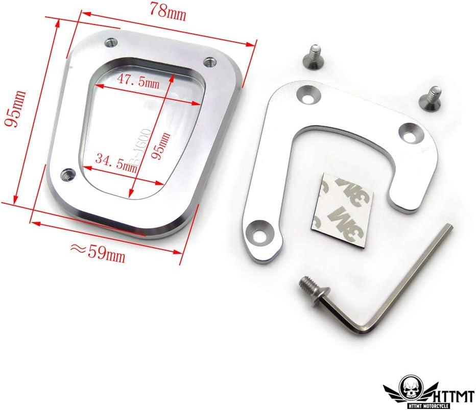 Kickstand Side Stand Extension Enlarger Pad Compatible With BMW K1600GT K1600GTL EXCLUSIVE K1600B Left Side Black SMT