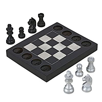 Handmade Black and White Wooden Beginners Chess Set - Combines Chess & Tic Tac Toe - Teaches Basic Chess Moves