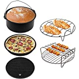 Extra Large 8 Inch Universal Air Fryer Accessories Set for 3.7, 5.3, 5.5, 5.8 QT Air Fryer, Includes Pizza Pan, Cake Pan, Silicone Mat, Metal Rack and Skewer Rack by The Modern Home