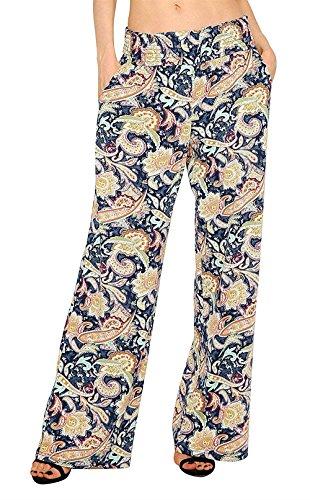 Leggero Grazioso Comodo Pantaloni Larghi Pantalone Palazzo Cintura Stampate Tempo Donna Estivi Lunga Elegante Libero Baggy Blau Elastica x7PU4